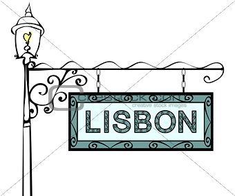 Lisbon retro vintage lamppost pointer.
