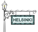 Helsinki retro pointer lamppost. Helsinki Capital of Finland tou
