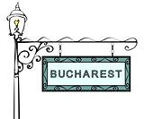Bucharest retro pointer lamppost.