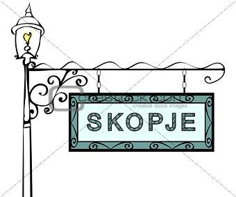 Skopje retro pointer lamppost.