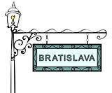 Bratislava retro pointer lamppost.