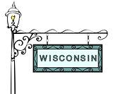 Wisconsin retro pointer lamppost.