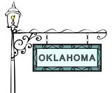 Oklahoma retro pointer lamppost.