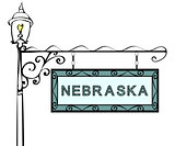 Nebraska retro pointer lamppost.