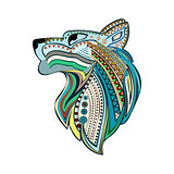 Vintage wolf head with colorful ethnic ornament.