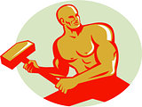 Athlete With Sledgehammer Training Oval Retro