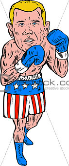 Boxer Pose USA Flag Etching