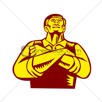 Businessman Arms Crossed Woodcut