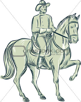 Cavalry Officer Riding Horse Etching