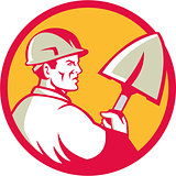 Construction Worker Spade Circle Retro