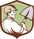 Construction Worker Spade Crest Retro