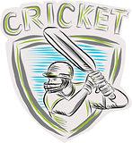 Cricket Player Batsman Batting Shield Etching