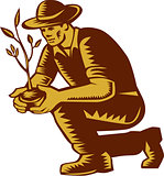 Organic Farmer Planting Tree Woodcut Linocut