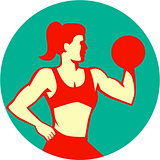 Female Lifting Dumbbell Circle Retro