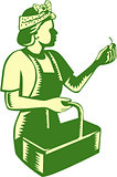 Female Fruit Picker Worker Basket Woodcut