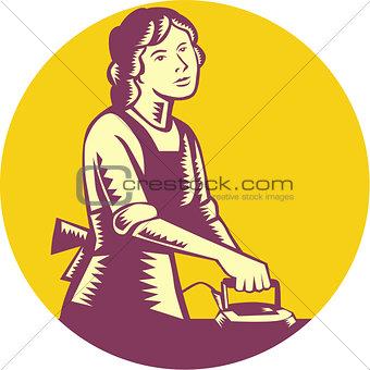 Housewife Ironing Circle Woodcut