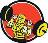 Knight Lifting Barbell Circle Retro
