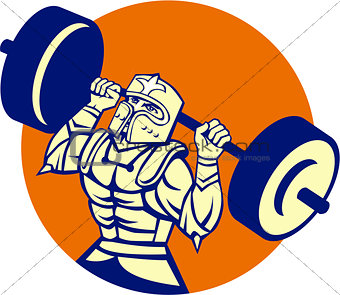 Black Knight Lifting Barbell Circle Retro