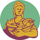 Female Organic Farmer Basket Harvest Circle Woodcut