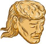 Man Open Head Brain Etching