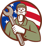 Mechanic Holding Wrench USA Flag Circle Retro