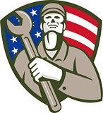 Mechanic Holding Wrench USA Flag Shield Retro