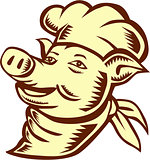 Pig Chef Cook Head Looking Up Woodcut