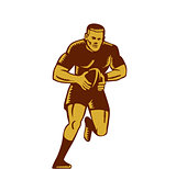 Rugby Player Running Ball Woodcut
