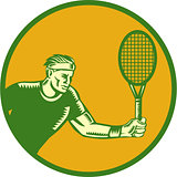 Tennis Player Forehand Circle Woodcut