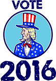Vote 2016 Uncle Sam TopHat American Flag Circle Retro