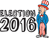 Election 2016 Uncle Sam Shouting Retro