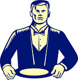 Waiter Cravat Serving Plate Woodcut