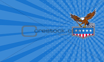 Business card American Eagle Towing J Hook USA Flag Retro