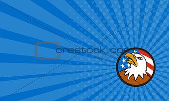 Business card American Bald Eagle Head Looking Up Flag Circle Cartoon