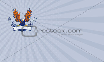 Business card Bald Eagle Swooping Spread Wings Scroll Retro