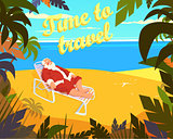Tropical beach, sun, summer, santa claus, holiday, time to travel. Vector illustration