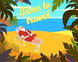 Tropical beach, sun, summer, santa claus, holiday, time to travel. Vector illustration