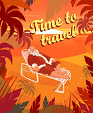Sunset on a tropical beach, summer, santa claus, holiday, time to travel. Vector illustration