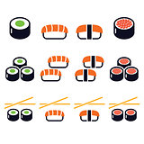 Sushi - Japanese food vector icons set