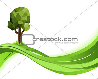 Green nature background. Eco concept illustration. Abstract vector with copyspace