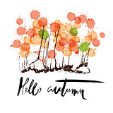 Hello autumn. Hand drawn lettering on abstract watercolor blots background