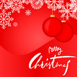 Elegant Red Christmas Snowflakes Card. Merry Christmas lettering. EPS10