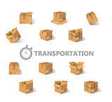 Vector illustration. Flat carton box. Transport , packaging. Post service and online delivery.