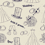 Vintage wedding seamless texture.