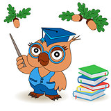 Professor Owl in glasses and in mortarboard