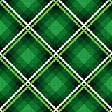 Diagonal seamless fabric pattern mainly in emerald hues