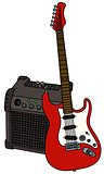 Red electric guitar and the combo