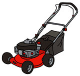 Red garden lawn mower