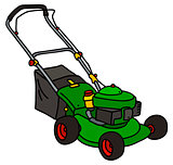 Green garden lawn mower