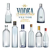 Various Types Of Vodka Bottles. Vector Illustration